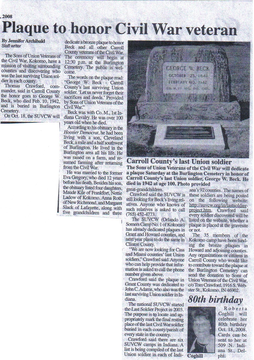 Indiana clay county harmony - Click Here To See A Copy Of An Article That Appeared In The Carroll County Comet Newspaper October 15th 2008